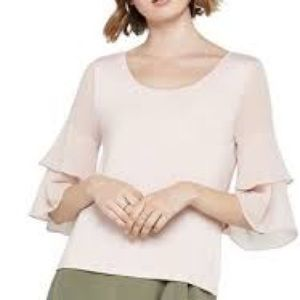 NWT BCBGENERATION blush/nude top sheer sleeves